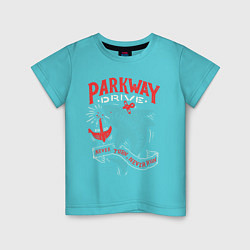 Футболка хлопковая детская Parkway Drive: Unbreakable цвета бирюзовый — фото 1