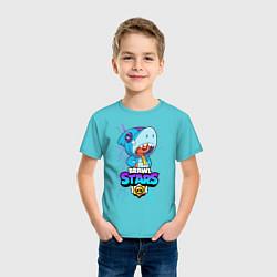 Футболка хлопковая детская BRAWL STARS LEON SHARK цвета бирюзовый — фото 2