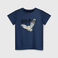 Футболка хлопковая детская Гарри Поттер: Букля цвета тёмно-синий — фото 1