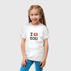 Футболка хлопковая детская I love you цвета белый — фото 2