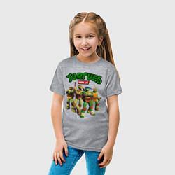 Футболка хлопковая детская Черепашки-ниндзя цвета меланж — фото 2