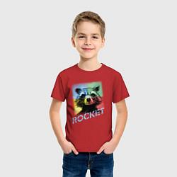 Футболка хлопковая детская ROCKET цвета красный — фото 2