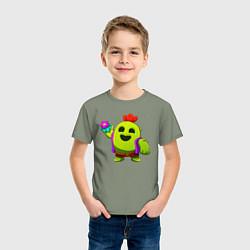 Футболка хлопковая детская BRAWL STARS SPIKE цвета авокадо — фото 2