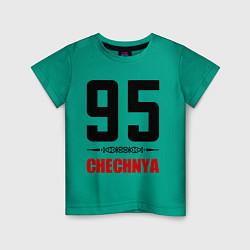 Футболка хлопковая детская 95 Chechnya цвета зеленый — фото 1