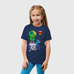 Детская хлопковая футболка с принтом BRAWL STARS LEON, цвет: тёмно-синий, артикул: 10231216100014 — фото 2