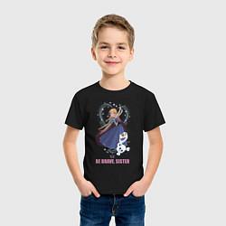 Футболка хлопковая детская Анна и Олаф цвета черный — фото 2