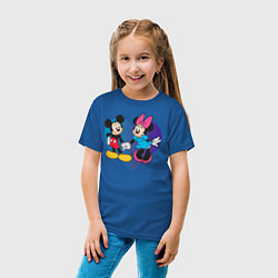 Футболка хлопковая детская Микки и Минни цвета синий — фото 2