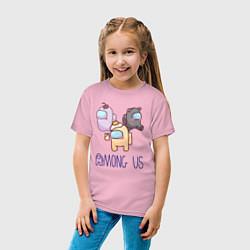 Футболка хлопковая детская Among Us цвета светло-розовый — фото 2