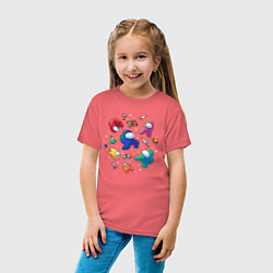 Детская хлопковая футболка с принтом Among Us, цвет: коралловый, артикул: 10274596300014 — фото 2