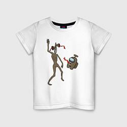 Футболка хлопковая детская Siren Head & Impostor цвета белый — фото 1