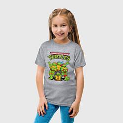Футболка хлопковая детская Черепашки ниндзя цвета меланж — фото 2