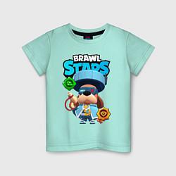 Футболка хлопковая детская Генерал Гавс brawl stars цвета мятный — фото 1