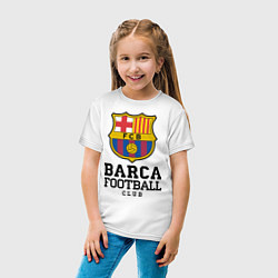 Футболка хлопковая детская Barcelona Football Club цвета белый — фото 2
