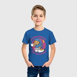 Футболка хлопковая детская Дружба- понятие круглосуточное цвета синий — фото 2