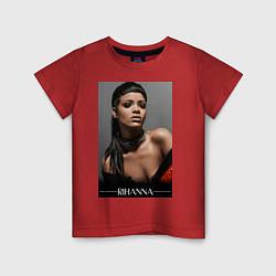 Футболка хлопковая детская Rihanna: portrait цвета красный — фото 1