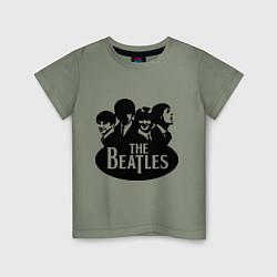 Футболка хлопковая детская The Beatles Band цвета авокадо — фото 1