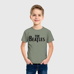 Футболка хлопковая детская The Beatles цвета авокадо — фото 2