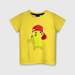 Футболка хлопковая детская Пикачу цвета желтый — фото 1