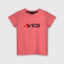 Футболка хлопковая детская Avicii цвета коралловый — фото 1
