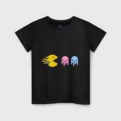 Футболка хлопковая детская Pac-Man: Fast Eat цвета черный — фото 1