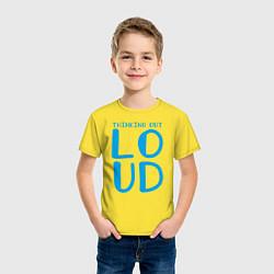 Футболка хлопковая детская Thinking Out: Loud цвета желтый — фото 2
