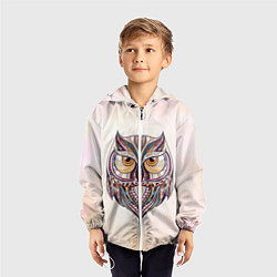 Ветровка с капюшоном детская Расписная голова совы цвета 3D-белый — фото 2