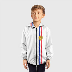 Ветровка с капюшоном детская Франция: лента с гербом цвета 3D-черный — фото 2