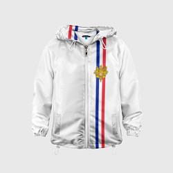 Ветровка с капюшоном детская Франция: лента с гербом цвета 3D-белый — фото 1