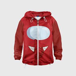 Ветровка с капюшоном детская AMONG US RED IMPOSTOR цвета 3D-белый — фото 1