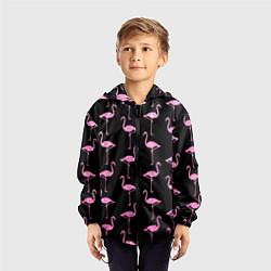 Ветровка с капюшоном детская Фламинго Чёрная цвета 3D-черный — фото 2