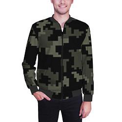 Бомбер мужской Камуфляж пиксельный: черный/серый цвета 3D-черный — фото 2