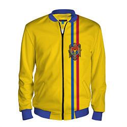 Бомбер мужской Молдавия: лента с гербом цвета 3D-синий — фото 1