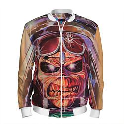 Бомбер мужской Iron Maiden: Dead Rider цвета 3D-белый — фото 1
