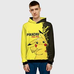 Толстовка-худи мужская Pikachu Pika Pika цвета 3D-черный — фото 2