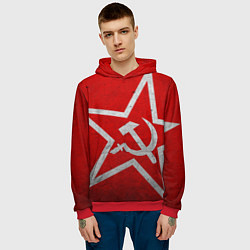 Толстовка-худи мужская Флаг СССР: Серп и Молот цвета 3D-красный — фото 2