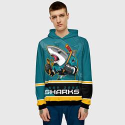 Толстовка-худи мужская San Jose Sharks цвета 3D-черный — фото 2