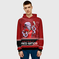 Толстовка-худи мужская Detroit Red Wings цвета 3D-черный — фото 2