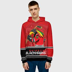 Толстовка-худи мужская Chicago Blackhawks цвета 3D-черный — фото 2