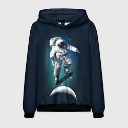 Толстовка-худи мужская Космический скейтбординг цвета 3D-черный — фото 1