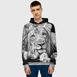 Толстовка-худи мужская Милый лев цвета 3D-меланж — фото 2