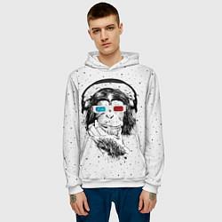 Толстовка-худи мужская Обезьяна в наушниках цвета 3D-белый — фото 2