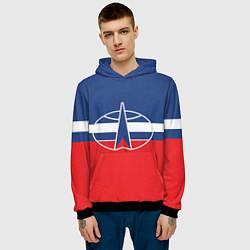 Толстовка-худи мужская Флаг космический войск РФ цвета 3D-черный — фото 2