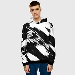 Толстовка-худи мужская Чёрно-белый цвета 3D-черный — фото 2
