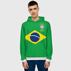Толстовка-худи мужская Сборная Бразилии: зеленая цвета 3D-белый — фото 2
