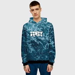Толстовка-худи мужская Грот: Синий мрамор цвета 3D-черный — фото 2