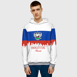 Толстовка-худи мужская Irkutsk: Russia цвета 3D-меланж — фото 2