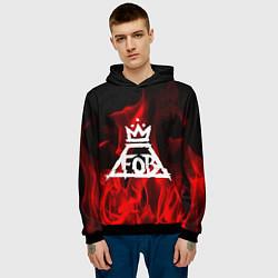 Толстовка-худи мужская Fall Out Boy: Red Flame цвета 3D-черный — фото 2