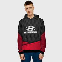 Толстовка-худи мужская Hyundai: Grey Carbon цвета 3D-черный — фото 2