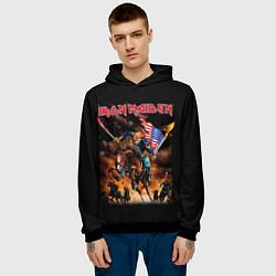 Толстовка-худи мужская Iron Maiden: USA Warriors цвета 3D-черный — фото 2