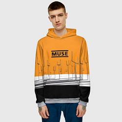 Толстовка-худи мужская Muse: Orange Mood цвета 3D-меланж — фото 2